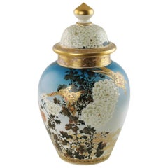 Early 20th Century Signed Japanese Hand Painted Satsuma Temple Jar Meiji Period