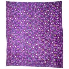 Early 20th Century Silk Suzani with an Unusual Design from Ferghana Uzbekistan