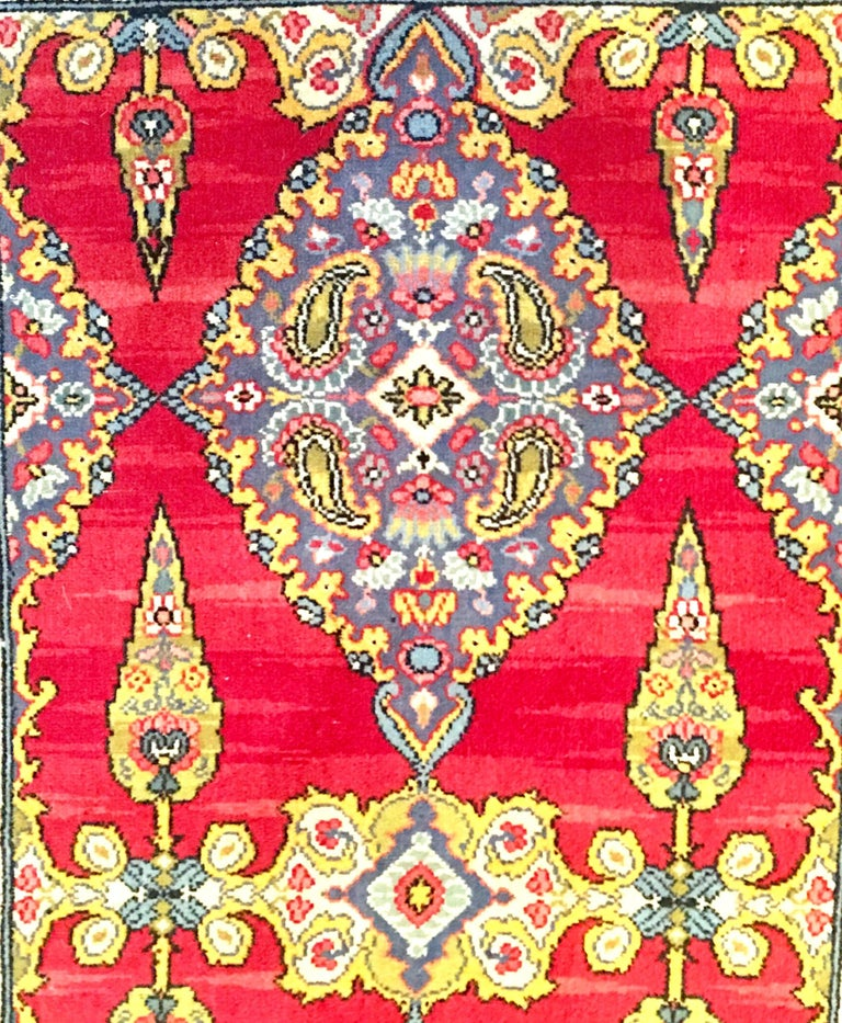Early 20th Century Silk & Wool Paisley Blossom Rug For Sale 2