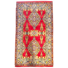 Early 20th Century Silk and Wool Paisley Blossom Rug