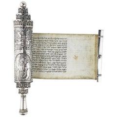 Early 20th Century Silver Megillah Case and Scroll by Bezalel School, Jerusalem