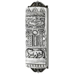 Early 20th Century Silver Mezuzah by Yehia Yemini, Bezalel School Jerusalem