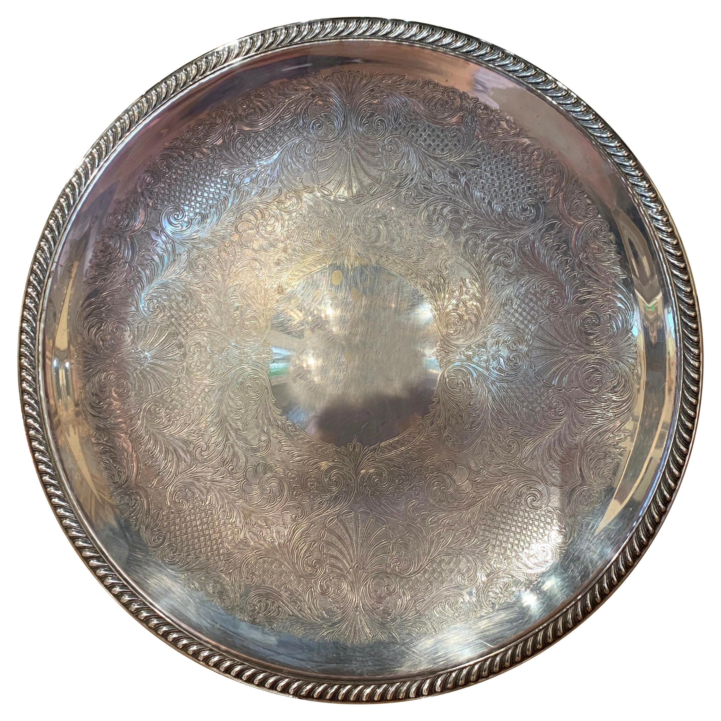 Early 20th Century Silver Plated over Brass Tray with Engraved Decor