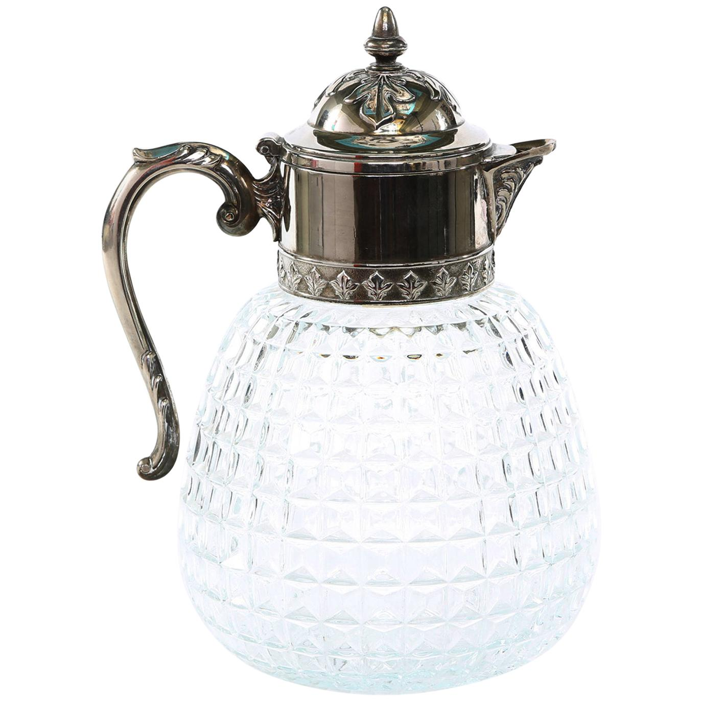 Early 20th Century Silver Plated Top / Cut Glass Pitcher