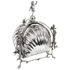 Early 20th Century Silver Plated Triple Shell Shaped Sweets Biscuit Box