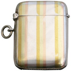 Early 20th Century Silver Vesta Case, 3 Colour Gold Stripes by W H Haseler, 1910