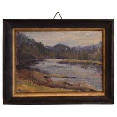 Early 20th Century Small French Art Nouveau River Landscape Oil Painting