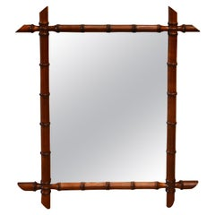 Early 20th Century Small French Faux Bamboo Mirror