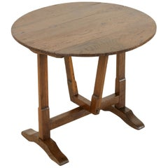 Early 20th Century Small French Oak Tilt Top Vineyard Table, Wine Tasting Table