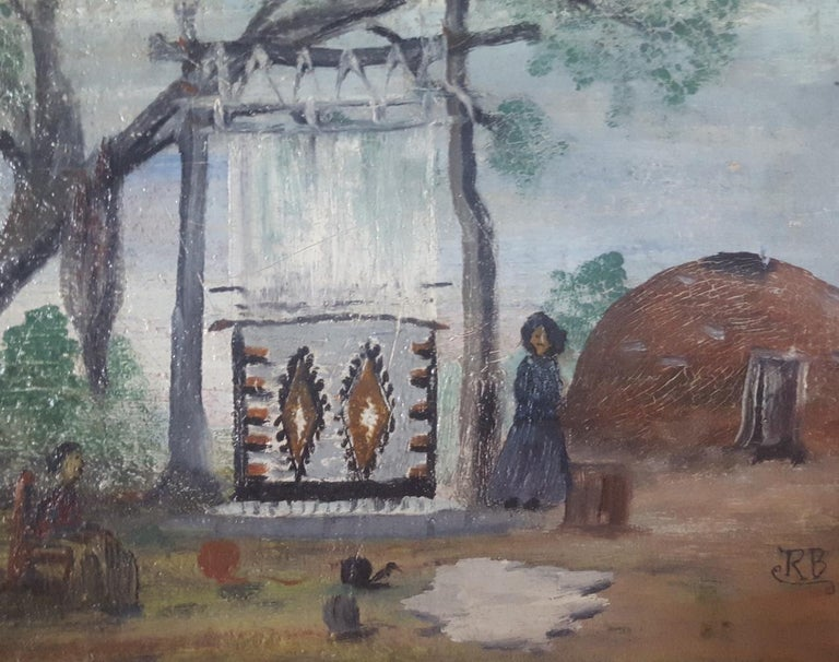 American Early 20th Century, Small, Naive Oil Painting of Navajo Women Weaving Outdoors For Sale