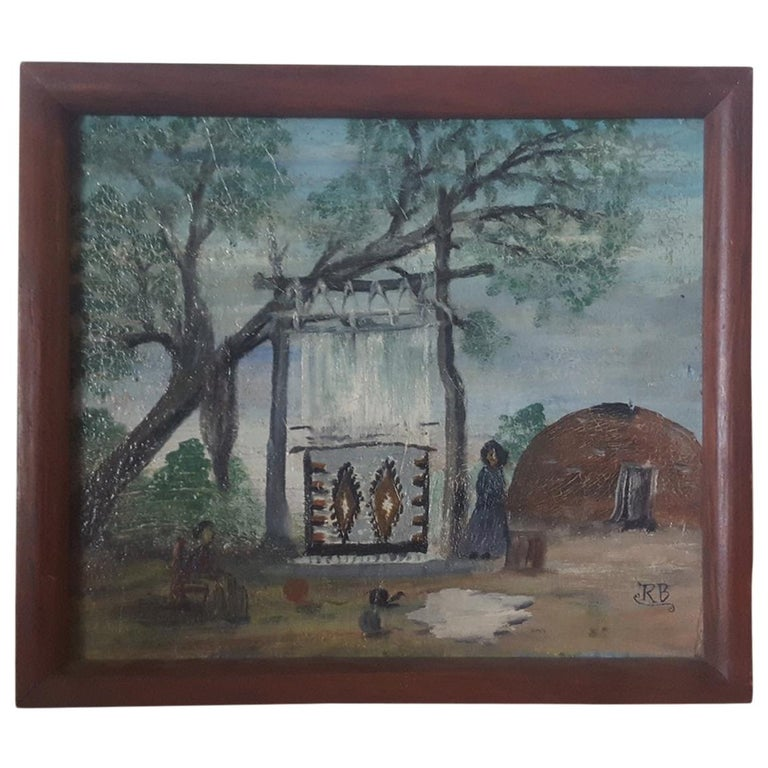 Early 20th Century, Small, Naive Oil Painting of Navajo Women Weaving Outdoors For Sale