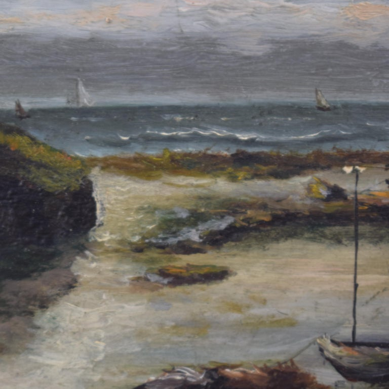 This lovely early 20th century small seaside oil painting by Leon Charles Fourquet was painted around 1910. It is a study of the Normandy.