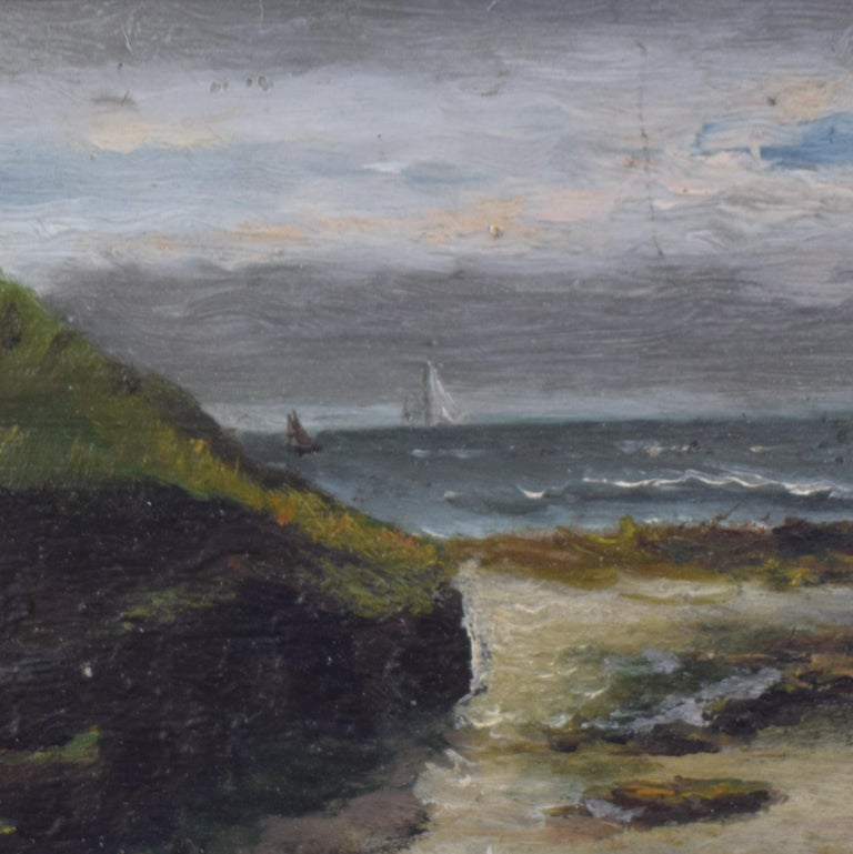 French Early 20th Century Small Seaside Oil Painting by Leon Charles Fourquet For Sale