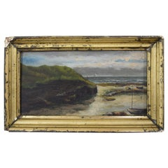Early 20th Century Small Seaside Oil Painting by Leon Charles Fourquet