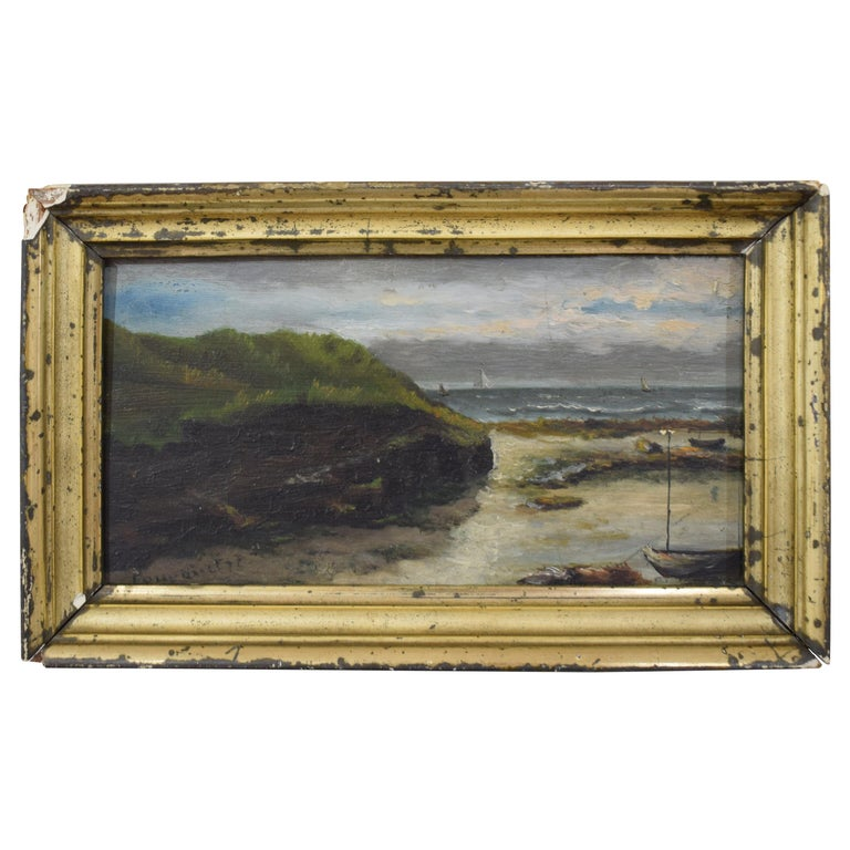 Early 20th Century Small Seaside Oil Painting by Leon Charles Fourquet For Sale