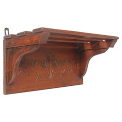 Early 20th Century Small Tyrolean Wall Shelf, Art Nouveau, in Hand Carved Walnut