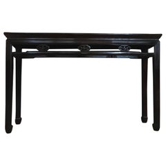 Early 20th Century Solid Elmwood and Rattan Dark Brown Console, China