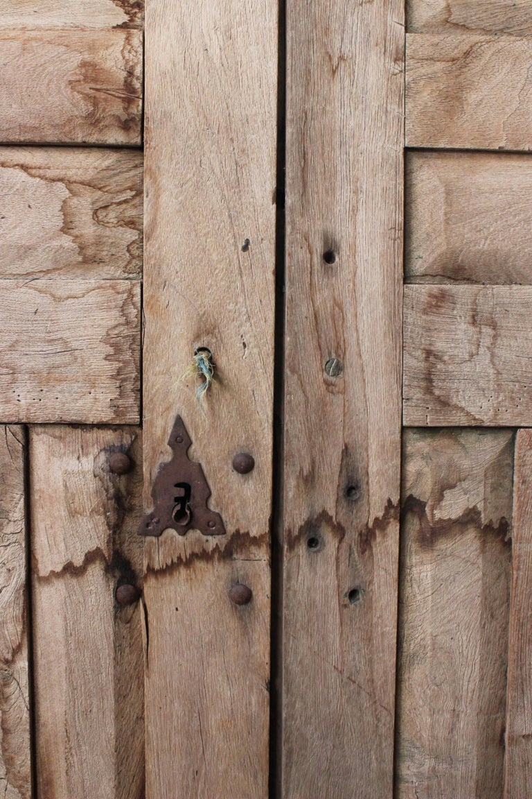 Early 20th Century Solid Mesquite Wood Door Found in Western México For Sale 6