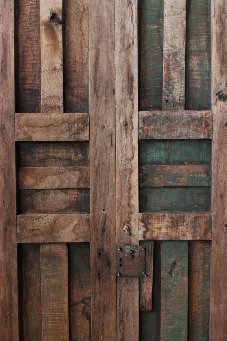 Folk Art Early 20th Century Solid Mesquite Wood Door Found in Western México For Sale