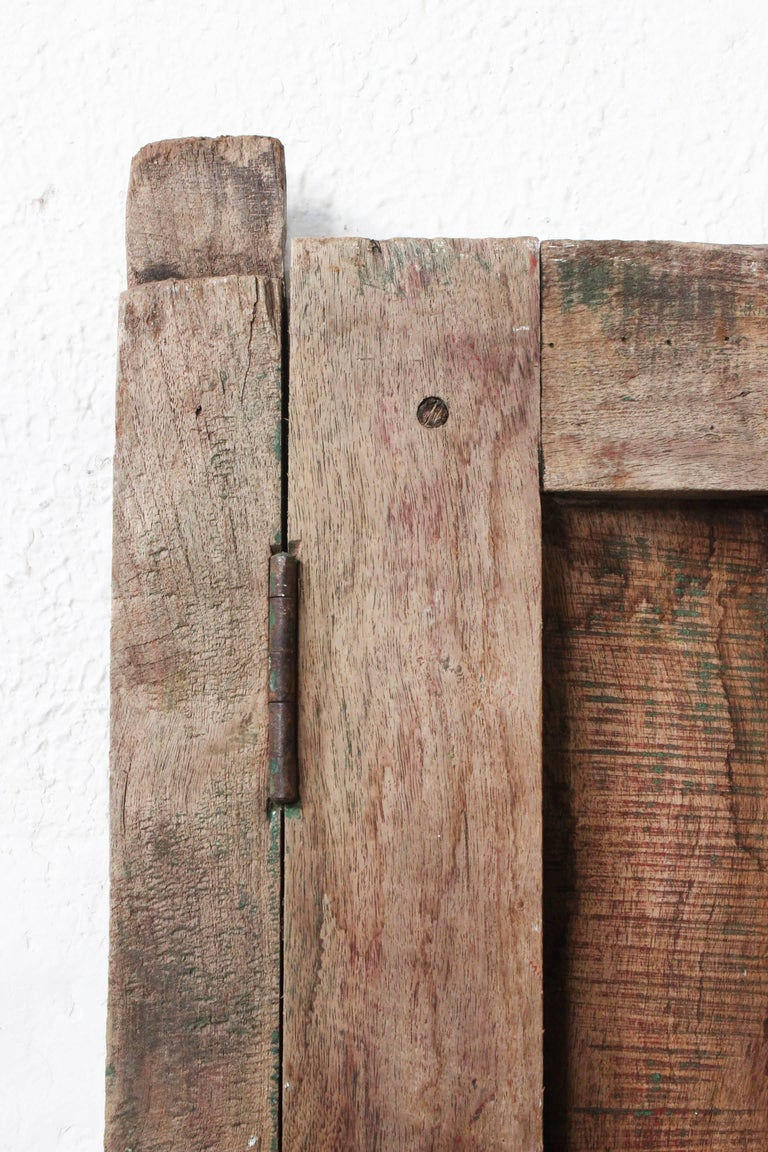 19th Century Early 20th Century Solid Mesquite Wood Door Found in Western México For Sale