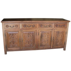 Early 20th Century Solid Teak Wood Entry Hall Credenza from Colonial Era Mansion