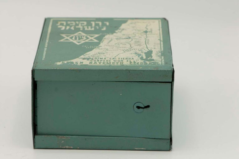 Early 20th Century South American JNF Iron Charity Box For Sale 3