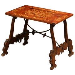 Early 20th Century Spanish Carved Burl Walnut and Marquetry Coffee Table