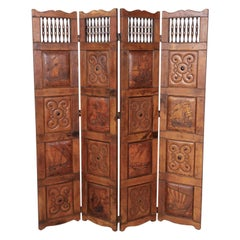 Early 20th Century Spanish Four-Panel Hand Embossed Leather Dividing Screen