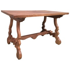 Early 20th Century Spanish Pine Trestle Table with Wood Stretcher