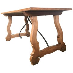 Early 20th Century Spanish Walnut Trestle Table and Forged Iron Stretcher, Desk