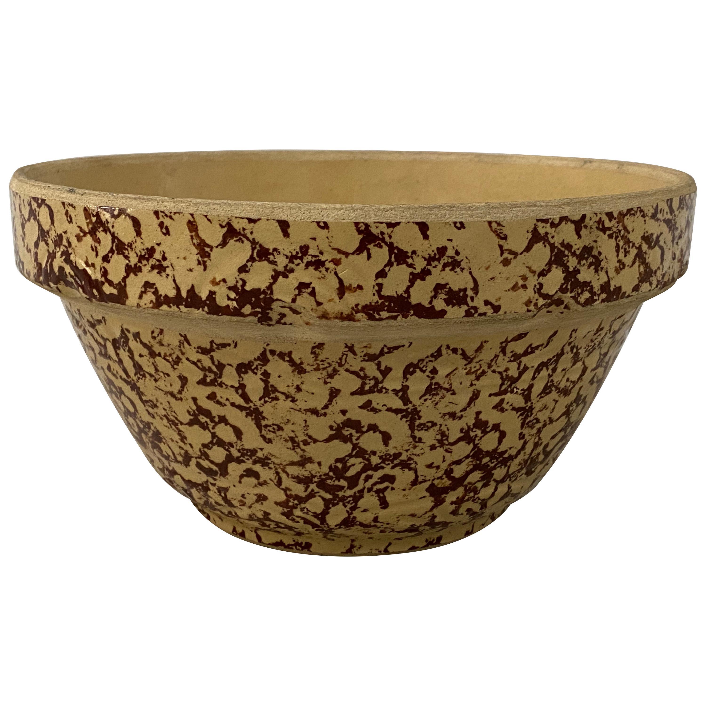 Early 20th Century Spongeware Stoneware Bowl