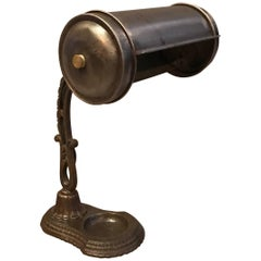 Early 20th Century Steel and Cast Iron Library Desk Lamp