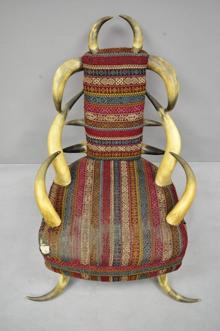 Early 20th Century Steer Horn Parlor Chair For Sale 6