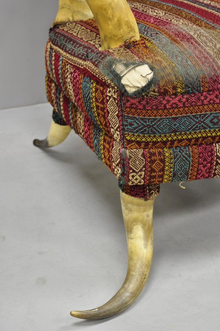 Early 20th Century Steer Horn Parlor Chair In Good Condition For Sale In Philadelphia, PA