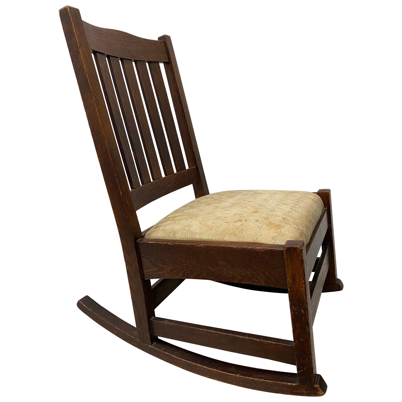 Early 20th Century Stickley Mission Oak Rocking Chair, circa 1910