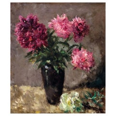 European 20th Century Flower Still Life Pink Peonies by Pick Morino Gilt Frame