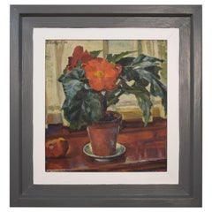 Early 20th Century German Art Deco Still Life Oil Painting, Flowers Pot, 1930