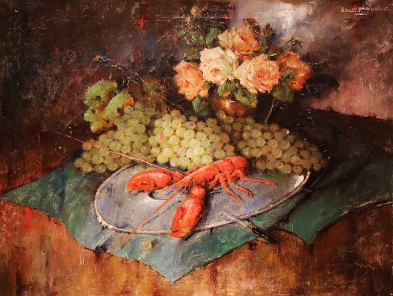 Add rich, vibrant colors to your home with this large, domestic antique painting. This oil on canvas painting was created in Denmark, circa 1920. The hand painted canvas features a table with a large red lobster surrounded by grapes and a bouquet of