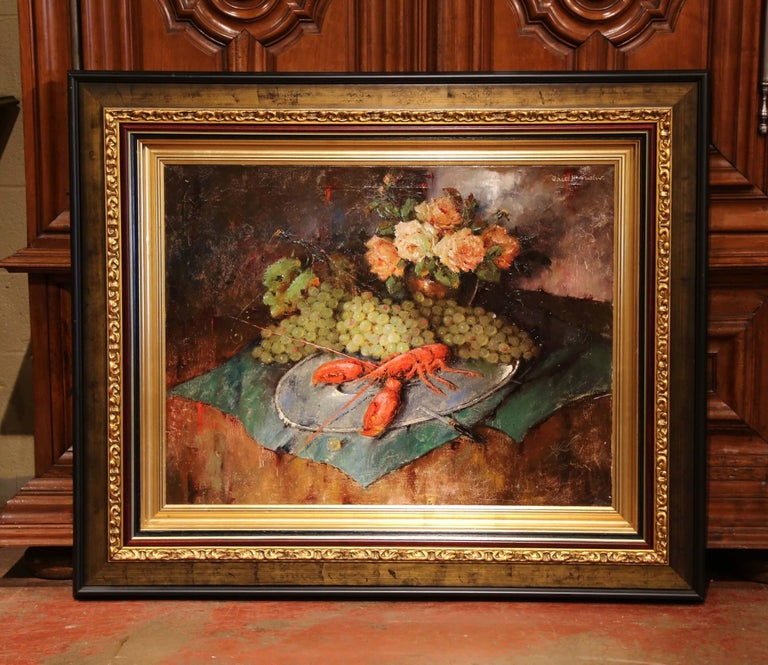 Carved Early 20th Century Still Life Oil Painting in Gilt Frame Signed C. Fischer For Sale