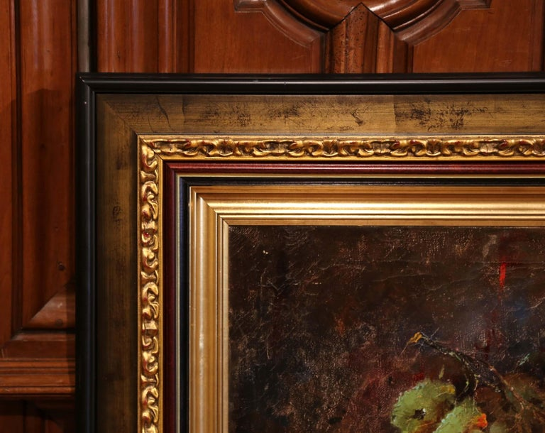 Early 20th Century Still Life Oil Painting in Gilt Frame Signed C. Fischer In Excellent Condition For Sale In Dallas, TX
