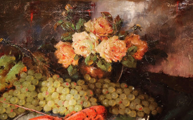 Early 20th Century Still Life Oil Painting in Gilt Frame Signed C. Fischer For Sale 1