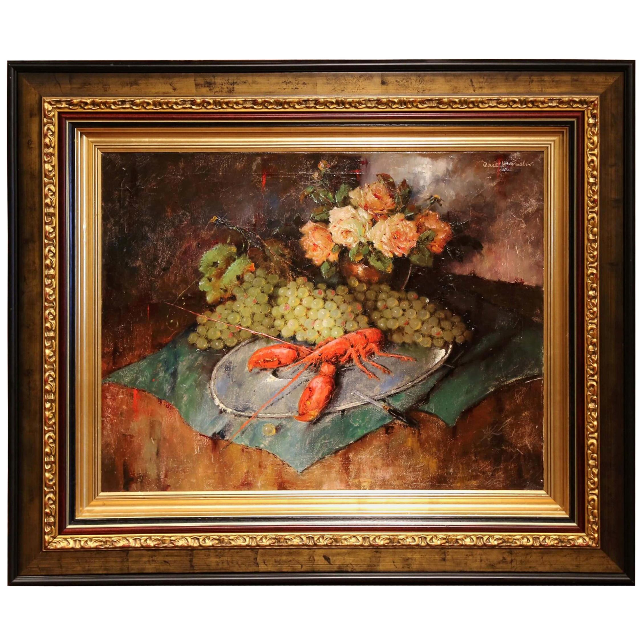 Early 20th Century Still Life Oil Painting in Gilt Frame Signed C. Fischer