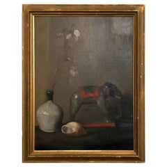 Early 20th Century Still Life Oil Painting of Toy Elephant by FC Bond, 1927