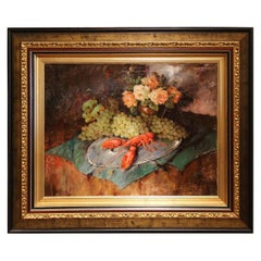 Early 20th Century Still Life Oil Painting with Lobster Signed Carl Fischer