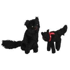 Early 20th Century Straw Stuffed Black Cats