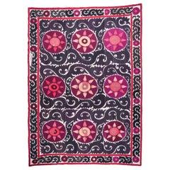 Early 20th Century Suzani from Samarkand, Uzbekistan, Silk on Cotton