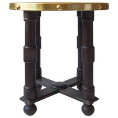 Early 20th Century Swedish Embossed Brass and Ebonized Oak Circular Side Table