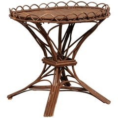 Early 20th Century Swedish Wood Twig and Reed Round Side Table