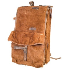 Early 20th Century Swiss Army Cowhide Backpack, circa 1945