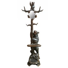 Early 20th Century Swiss Black Forest Hall Tree Attributed to Seilar-Brawant